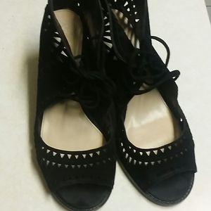 Vince Camuto Cut out black  suede  sandals